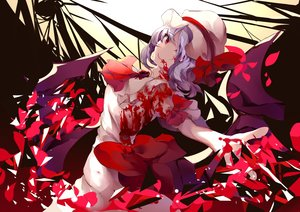 Rating: Safe Score: 42 Tags: blood bow dress fallen_heaven hat purple_hair red_eyes remilia_scarlet short_hair touhou vampire wings User: otaku_emmy