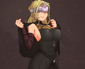 Rating: Safe Score: 24 Tags: blindfold blonde_hair breasts brown cape cropped dark_souls dress erect_nipples fire_keeper headdress justrube long_hair necklace sideboob User: otaku_emmy