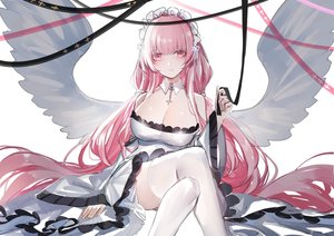 Rating: Safe Score: 63 Tags: anthropomorphism azur_lane breasts cleavage cross dress horz long_hair perseus_(azur_lane) pink_eyes pink_hair ribbons thighhighs twintails wings User: RyuZU