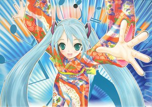 Rating: Safe Score: 35 Tags: blue_hair green_eyes hapido hatsune_miku japanese_clothes long_hair microphone music scan twintails vocaloid yukata User: 秀悟