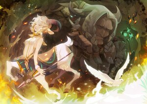 Rating: Safe Score: 21 Tags: afk_arena animal animal_ears bird blonde_hair dollyly21 horns male nemora_(afk_arena) spear tagme_(character) tears weapon white_hair User: Maboroshi