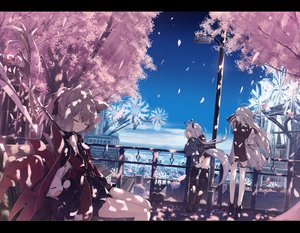 Rating: Safe Score: 33 Tags: animal animal_ears book braids cat cherry_blossoms clouds foxgirl gray_eyes gray_hair hat original ozshia_(shia-ushio) petals short_hair shorts sky tail thighhighs witch_hat User: RyuZU