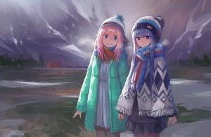 Rating: Safe Score: 83 Tags: 2girls blue_eyes blue_hair kagamihara_nadeshiko kasagarasu pink_hair purple_eyes scarf shima_rin yuru_camp User: RyuZU