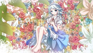 Rating: Safe Score: 41 Tags: barefoot blue_eyes braids dress flowers headdress izayoi_sakuya maid risutaru touhou white_hair User: austerely