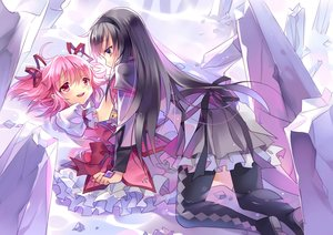 Rating: Safe Score: 37 Tags: 2girls akemi_homura bow brown_hair crying kaname_madoka long_hair mahou_shoujo_madoka_magica pink_eyes pink_hair ribbons rie_(reverie) shoujo_ai skirt stockings tears twintails waifu2x water User: Eleanor