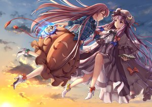 Rating: Safe Score: 17 Tags: 2girls book bow clouds dtvisu hat hata_no_kokoro long_hair mask patchouli_knowledge pink_hair purple_eyes purple_hair sky touhou User: RyuZU