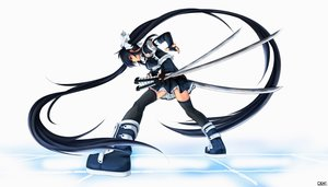Rating: Safe Score: 134 Tags: boots brown_eyes elbow_gloves gloves katana long_hair original shou_mai skirt sword thighhighs twintails weapon User: FormX