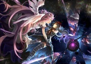 Rating: Safe Score: 160 Tags: akemi_homura akuma_homura dress kaname_madoka long_hair mahou_shoujo_madoka_magica rikkido thighhighs ultimate_madoka wings User: FormX