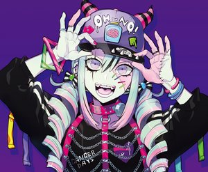 Rating: Safe Score: 56 Tags: blue_hair chain close hat long_hair original puppeteer7777 purple purple_eyes scar twintails wristwear User: sadodere-chan