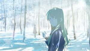 Rating: Safe Score: 46 Tags: forest green_hair long_hair loundraw original signed snow tree winter User: RyuZU
