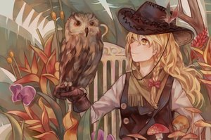 Rating: Safe Score: 60 Tags: animal bird blonde_hair bow braids hat kirisame_marisa long_hair owl touhou yellow_eyes zicai_tang User: Flandre93