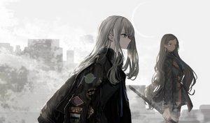 Rating: Safe Score: 84 Tags: 2girls aliasing building city long_hair naruwe original sword weapon User: BattlequeenYume