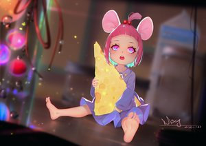 Rating: Safe Score: 30 Tags: animal_ears barefoot dress food loli miyama_tsubaki_me mousegirl original pink_eyes pink_hair short_hair signed User: Dreista