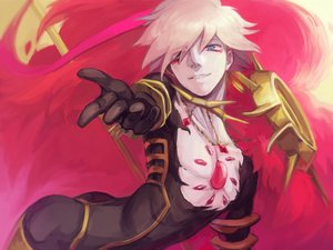 Rating: Safe Score: 14 Tags: all_male aqua_eyes blonde_hair fate/apocrypha fate_(series) karna male ruchi short_hair User: RyuZU