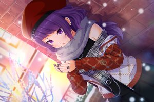Rating: Safe Score: 29 Tags: blush hat idolmaster idolmaster_shiny_colors long_hair purple_eyes purple_hair rocky0206 scarf tanaka_mamimi winter User: BattlequeenYume
