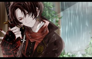 Rating: Safe Score: 20 Tags: all_male anthropomorphism brown_hair kashuu_kiyomitsu long_hair male ponytail rain red_eyes sword tagme_(artist) touken_ranbu tree water weapon wet User: BattlequeenYume