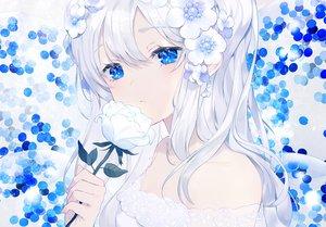 Rating: Safe Score: 85 Tags: achiki blue_eyes flowers long_hair original rose waifu2x white_hair User: sadodere-chan