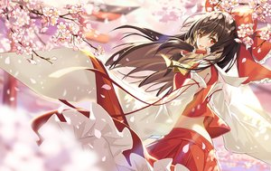 Rating: Safe Score: 76 Tags: augu_(523764197) bow brown_hair cherry_blossoms flowers hakurei_reimu japanese_clothes jpeg_artifacts long_hair miko orange_eyes petals touhou User: RyuZU