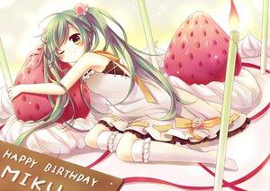 Rating: Safe Score: 80 Tags: amane_kurumi cake flowers food fruit green_eyes green_hair hatsune_miku long_hair rose strawberry twintails vocaloid User: HawthorneKitty