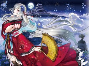 Rating: Safe Score: 32 Tags: breasts building fan flowers gray_hair japanese_clothes kimono long_hair male moon night ogino_atsuki original red_eyes sideboob thighhighs User: luckyluna