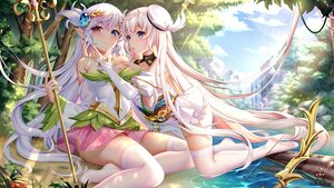 Rating: Safe Score: 112 Tags: 2girls bicolored_eyes blue_eyes bow_(weapon) breast_hold clouds flowers grass hat long_hair original pointed_ears shoujo_ai skirt sky staff thighhighs tree water waterfall watermark weapon white_hair yue_xiao_e User: BattlequeenYume