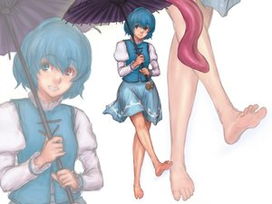 Rating: Safe Score: 19 Tags: barefoot bicolored_eyes blue_hair kuro_suto_sukii tatara_kogasa touhou umbrella white zoom_layer User: FormX