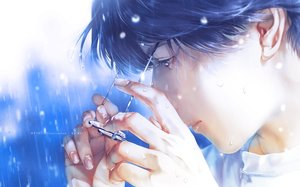 Rating: Safe Score: 34 Tags: all_male blue_eyes blue_hair close glasses male original polychromatic rain re° realistic short_hair water watermark wet User: mattiasc02