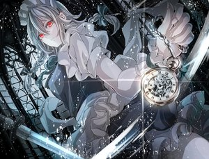 Rating: Safe Score: 32 Tags: apron bow braids chain gray_hair headdress izayoi_sakuya jan_(lightdragoon) knife long_hair maid red_eyes ribbons touhou waifu2x weapon wristwear User: otaku_emmy