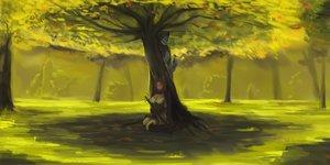 Rating: Safe Score: 53 Tags: animal armor bird brown_hair foxgirl grass green katana male pixiv_fantasia sword tree weapon User: humanpinka