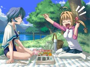 Rating: Safe Score: 18 Tags: 2girls angel_wish blue_hair brown_hair favorite game_cg kidosaki_nanami kurihira_rikka short_hair swimsuit twintails User: ホタル