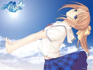 Rating: Safe Score: 45 Tags: after blue_eyes orange_hair ponytail school_uniform shiomiya_kanami sky taka_tony User: Oyashiro-sama