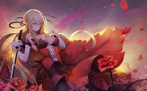 Rating: Safe Score: 146 Tags: bakemonogatari blonde_hair breasts elbow_gloves flowers gloves johnson_zhuang kissshot_acerolaorion_heartunderblade kizumonogatari long_hair monogatari_(series) oshino_shinobu petals pointed_ears ribbons rose signed sword weapon yellow_eyes User: RyuZU