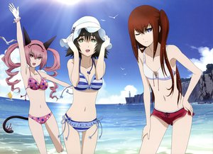 Rating: Safe Score: 134 Tags: animal_ears beach bikini breasts cleavage faris_nyannyan makise_kurisu shiina_mayuri steins;gate swimsuit tail wink User: Wiresetc