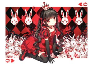 Rating: Safe Score: 166 Tags: aliasing alice_in_wonderland black_hair blush bow choker dress elbow_gloves gloves long_hair nardack queen_of_hearts red_eyes scan thighhighs twintails white_rabbit User: Dummy