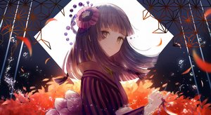 Rating: Safe Score: 57 Tags: brown_eyes japanese_clothes kimono long_hair original pabo petals purple_hair ribbons short_hair water User: BattlequeenYume