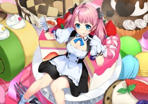 Rating: Safe Score: 40 Tags: apron aqua_eyes bon_(bonbon315) breasts cake cleavage food fruit gloves long_hair maid original pink_hair strawberry twintails User: Nepcoheart