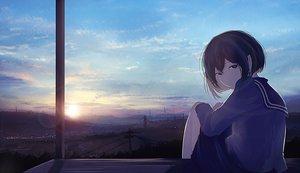 Rating: Safe Score: 37 Tags: mifuru original scenic school_uniform short_hair sky sunset User: FormX