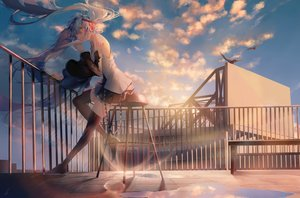 Rating: Safe Score: 62 Tags: aqua_eyes aqua_hair clouds hatsune_miku headphones long_hair reflection rooftop saihate signed skirt sky tattoo thighhighs twintails vocaloid water User: RyuZU