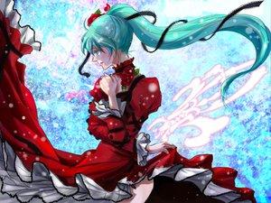 Rating: Safe Score: 22 Tags: aqua_eyes aqua_hair choker dress flowers hatsune_miku rose vocaloid User: HawthorneKitty