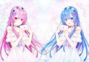 Rating: Safe Score: 65 Tags: 2girls aqua_eyes aqua_hair dress long_hair miyo_(user_zdsp7735) pink_eyes pink_hair ram_(re:zero) rem_(re:zero) re:zero_kara_hajimeru_isekai_seikatsu twins User: BattlequeenYume