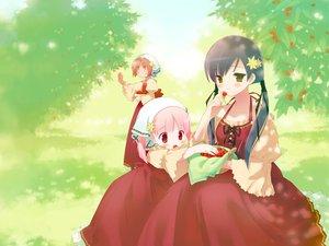 Rating: Safe Score: 21 Tags: akino_momiji cherry cuffs_(studio) dress food fruit gayarou kiriyama_sakura pink_hair red_eyes sakura_musubi sera_karen User: Xtea