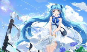 Rating: Safe Score: 32 Tags: animal aqua_eyes aqua_hair bird bow dress flowers hatsune_miku kyod+ long_hair signed twintails umbrella vocaloid User: RyuZU