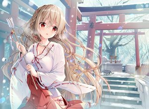 Rating: Safe Score: 243 Tags: animal bell blush braids breasts brown_hair cat cleavage japanese_clothes long_hair miko original red_eyes snow sousouman stairs torii tree User: BattlequeenYume