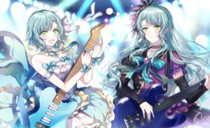 Rating: Safe Score: 29 Tags: 2girls aliasing aqua_hair bang_dream! bow choker dress green_eyes guitar headdress hikawa_hina hikawa_sayo instrument long_hair nennen ribbons short_hair twins wristwear User: ssagwp