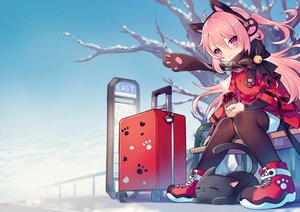 Rating: Safe Score: 69 Tags: animal animal_ears bell cat closers drink earmuffs jpeg_artifacts long_hair pantyhose pink_hair purple_eyes scarf tagme_(character) tree utm watermark winter User: RyuZU