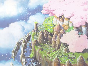 Rating: Safe Score: 54 Tags: building cherry_blossoms city clouds flowers laputa:_castle_in_the_sky nobody petals ruins scenic sky User: Oyashiro-sama