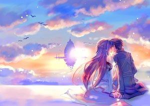 Rating: Safe Score: 202 Tags: kirigaya_kazuto kiss naruse_chisato sky sword_art_online yuuki_asuna User: w7382001