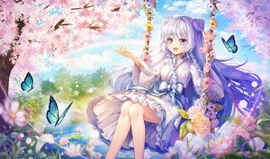 Rating: Safe Score: 53 Tags: bow butterfly dress flowers hayun long_hair original purple_eyes tree water white_hair User: BattlequeenYume