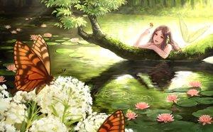 Rating: Safe Score: 117 Tags: brown_hair butterfly flowers leaves long_hair mermaid orange_eyes original romiy water User: gnarf1975