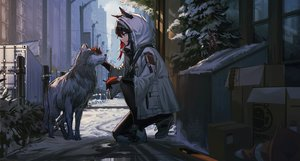 Rating: Safe Score: 46 Tags: animal arknights cigarette doren gloves hoodie red_eyes texas_(arknights) User: Flandre93
